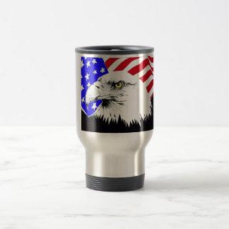 American Flag and Bald Eagle 15 Oz Stainless Steel Travel Mug