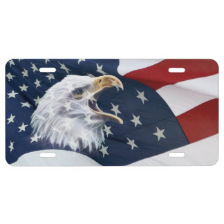 American flag and bald eagle license plate