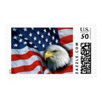 American Flag and Bald Eagle Postage Stamp