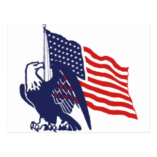 American Flag and Bald Eagle Postcard