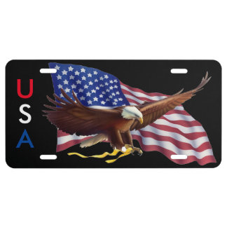 AMERICAN FLAG AND BALD EAGLE WITH GOLD RIBBON LICENSE PLATE