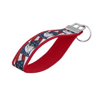 American flag and bald eagle wrist keychain