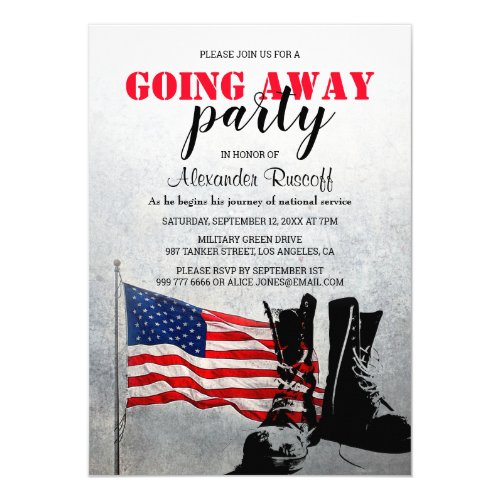 American Flag and Boots Going Away Party Military Invitation
