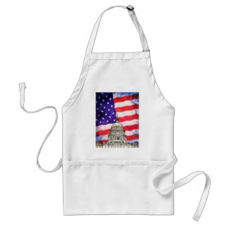 American Flag And Capitol Building Adult Apron