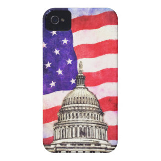 American Flag And Capitol Building iPhone 4 Case