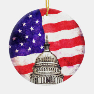 American Flag And Capitol Building Ceramic Ornament