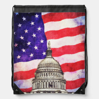 American Flag And Capitol Building Drawstring Bag