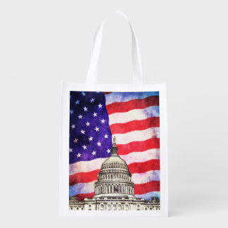 American Flag And Capitol Building Reusable Grocery Bag
