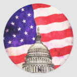 American Flag And Capitol Building Round Sticker