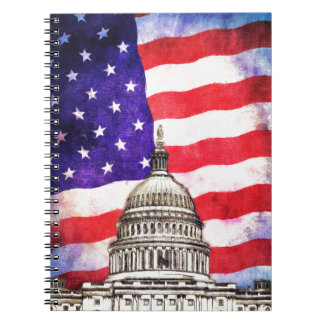 American Flag And Capitol Building Spiral Notebook