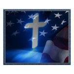 American Flag and Christian Cross, Fascism Poster