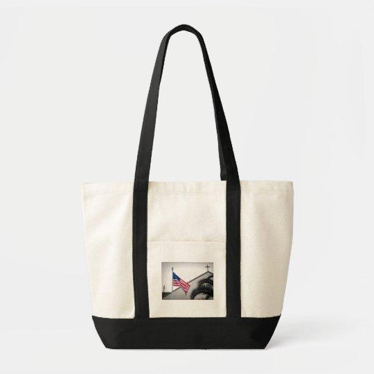 American Flag and Crucifix Impulse Tote Bag