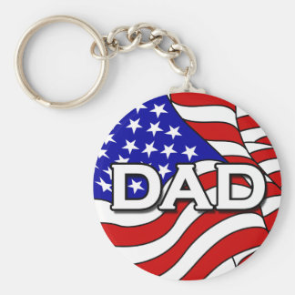 American Flag and Dad Keychain
