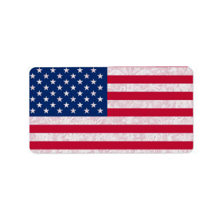 American Flag and Damask Label