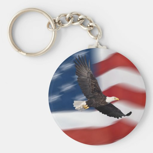American flag and eagle basic round button keychain