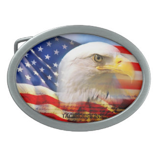 American flag and eagle belt buckle. oval belt buckle