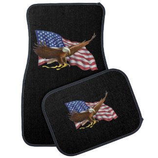 American Flag and Eagle Black Car Floor Mat