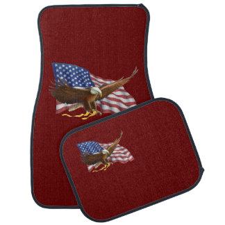 American Flag and Eagle Dark Red Car Floor Mat