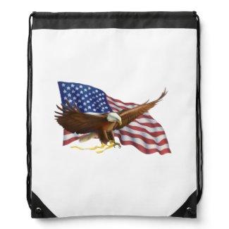 American Flag and Eagle Drawstring Bag