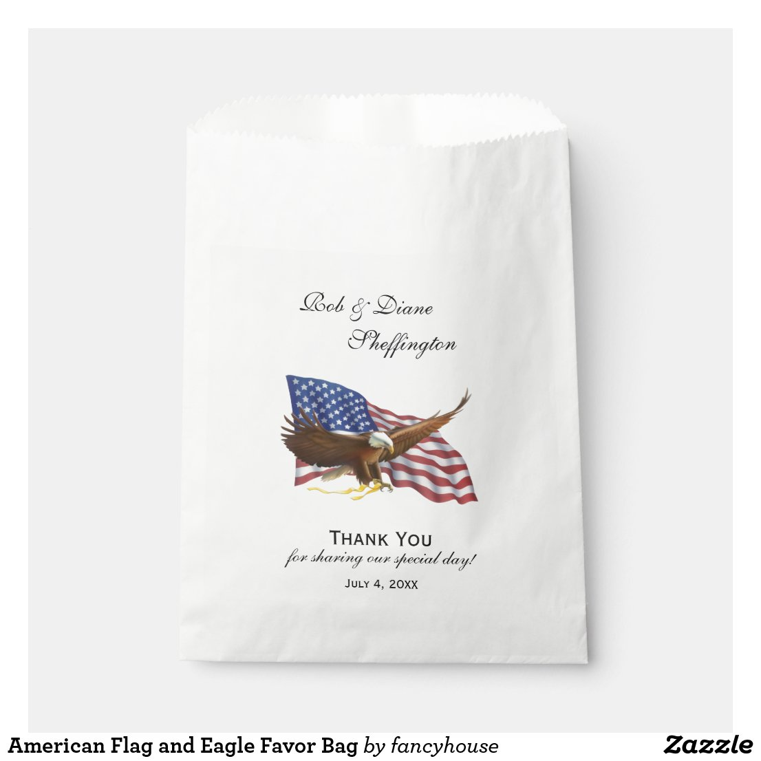 American Flag and Eagle Favor Bag