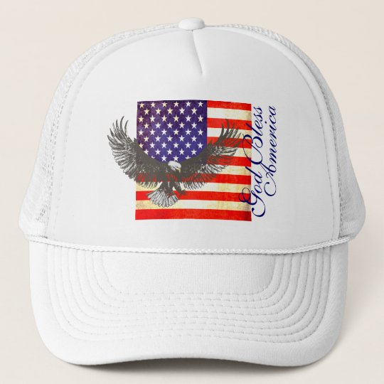 American flag and eagle god bless america hat