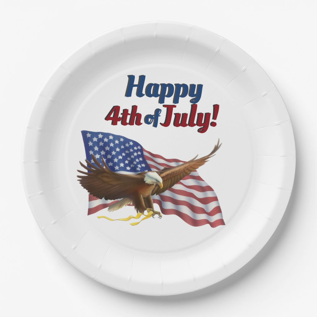 American Flag and Eagle July 4th Paper Plate
