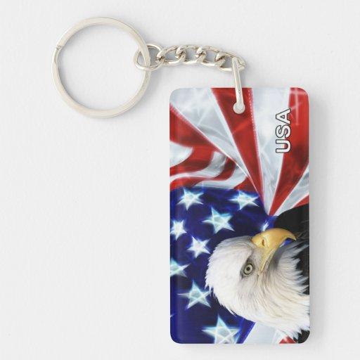 American Flag and Eagle Patriotic Rectangular Acrylic Key Chain