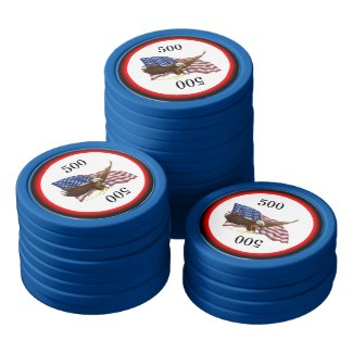 American Flag and Eagle Poker Chips Set