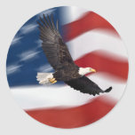 American flag and eagle round stickers
