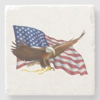 American Flag and Eagle Stone Coaster