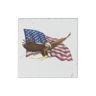 American Flag and Eagle Stone Magnet
