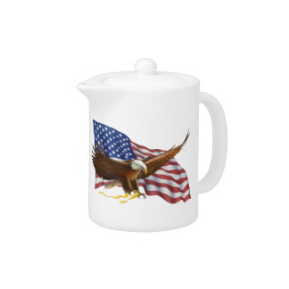 American Flag and Eagle Teapot