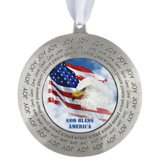 American Flag and Eagle's Head Christmas Ornament