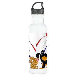 American Flag and Fireworks 24oz Water Bottle