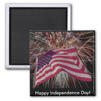 American Flag and Fireworks 2 Inch Square Magnet