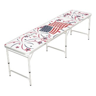 American Flag and Fireworks Beer Pong Table
