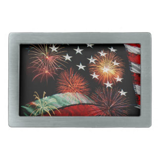 American flag and fireworks belt buckle