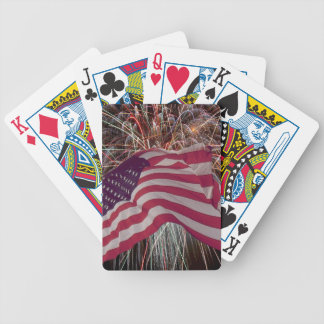 American Flag and Fireworks Bicycle Playing Cards