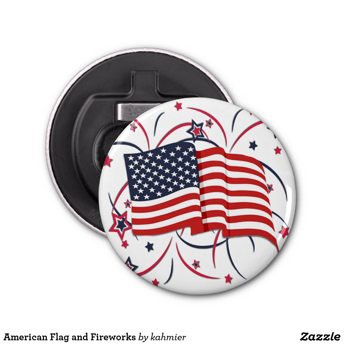 American Flag and Fireworks Bottle Opener