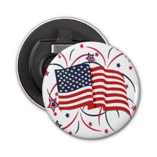 American Flag and Fireworks Bottle Opener