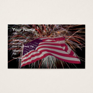 American Flag and Fireworks Business Card