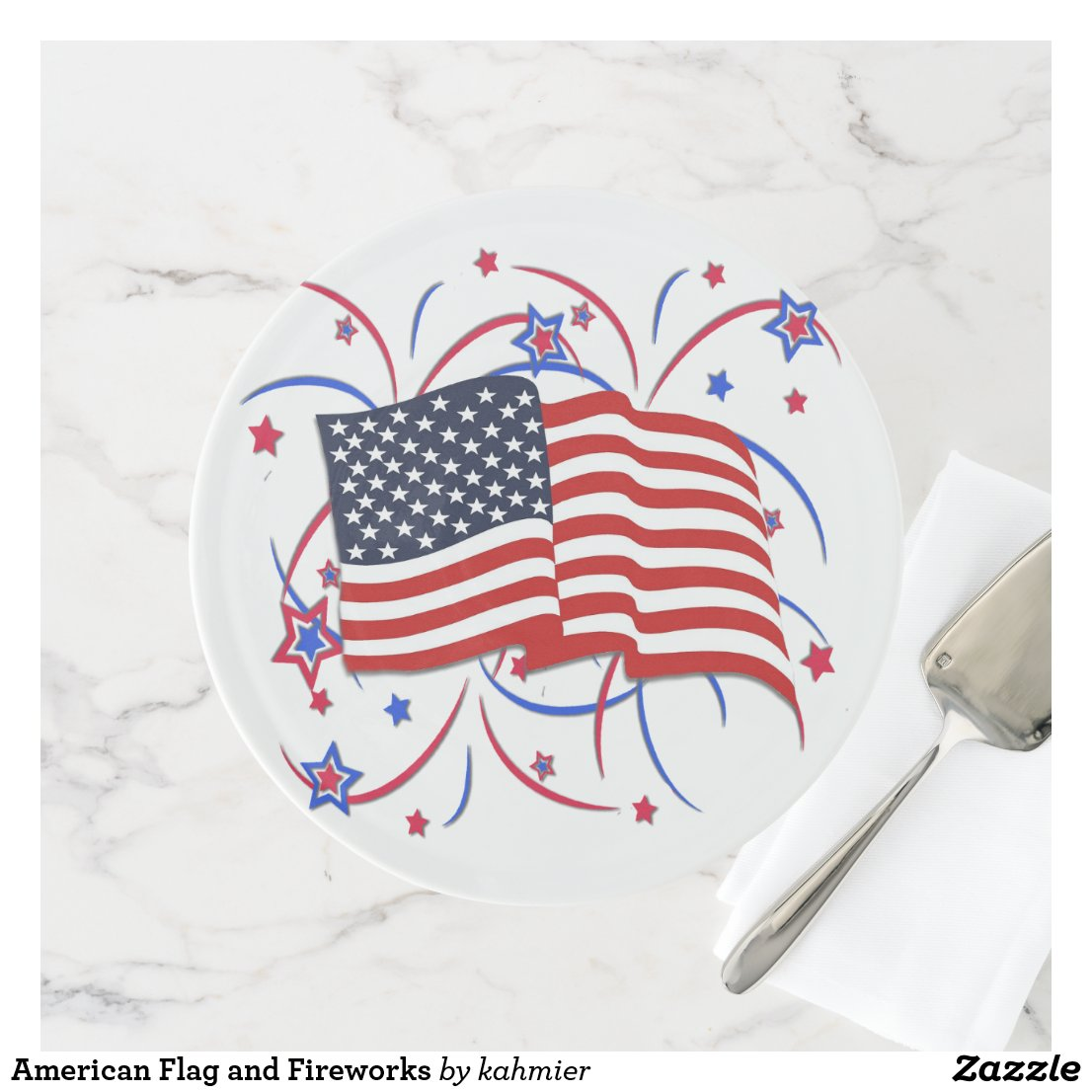 American Flag and Fireworks Cake Stand