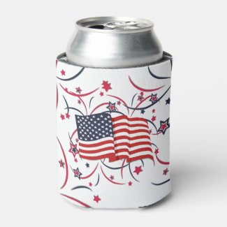 American Flag and Fireworks Can Cooler