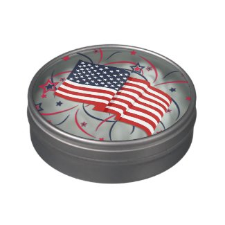 American Flag and Fireworks Candy Tin