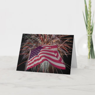 American Flag and Fireworks Card