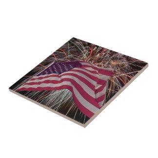 American Flag and Fireworks Ceramic Tile