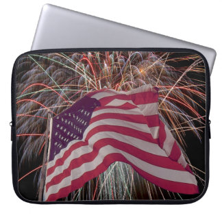 American Flag and Fireworks Computer Sleeve