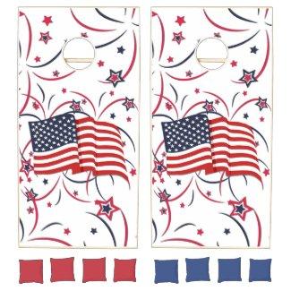 American Flag and Fireworks Cornhole Set