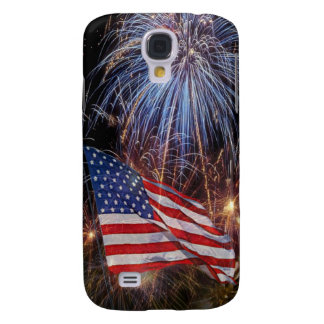 American Flag And Fireworks Design Galaxy S4 Case