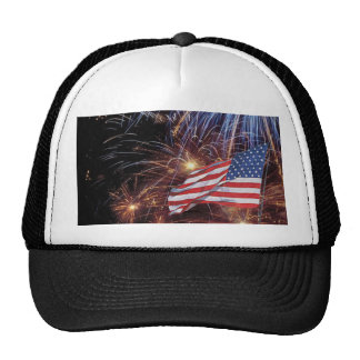 American Flag And Fireworks Design Trucker Hat